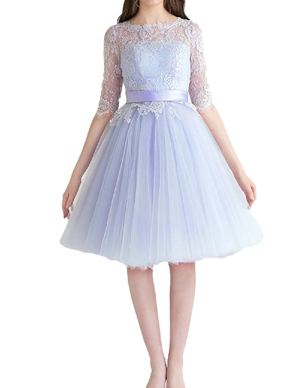 Favors Dress Women's Half Sleeves Short Homecoming Lace Cocktail Prom Dress WP24