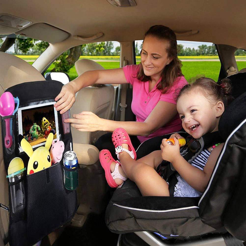 Nero WENTS Organizer Sedile Auto Bambini Organizzatore con 9 Tasche e Trasparente Tavoletta Tappetini per Riporre Facilmente Giocattoli//Libri//Bottiglie//Alimenti Auto Sedile Organizer