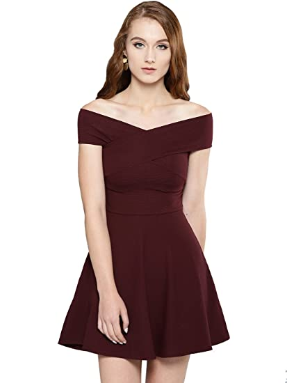 a46b77f57847 Veni VIDI VICI Maroon Bandage Bardot Skater Dress  Amazon.in ...