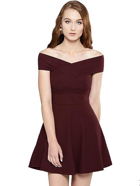 Veni VIDI VICI Maroon Bandage Bardot Skater Dress  Amazon.in ... 4d4041623