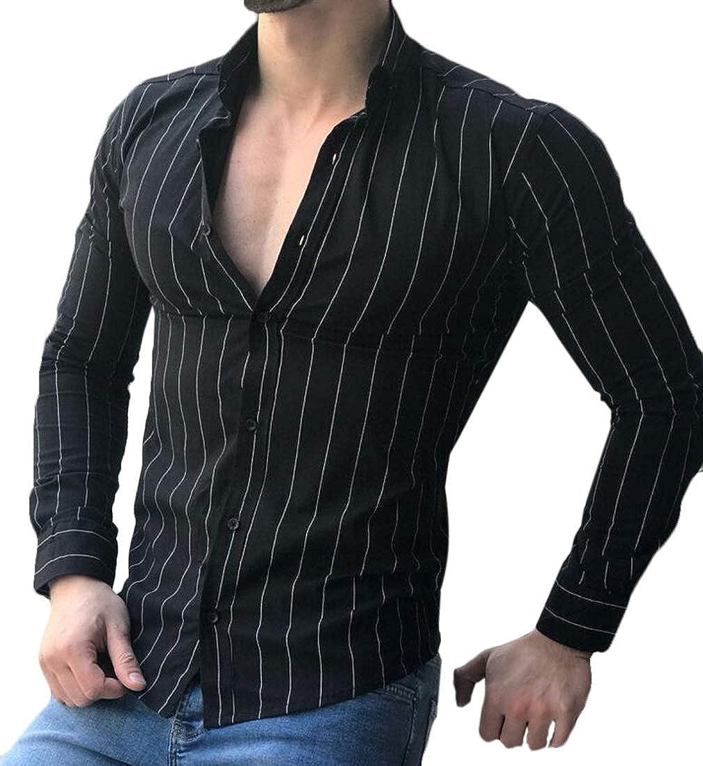 heymoney Mens Shirt Cotton Linen Casual Long Sleeve Striped Button Down Shirts