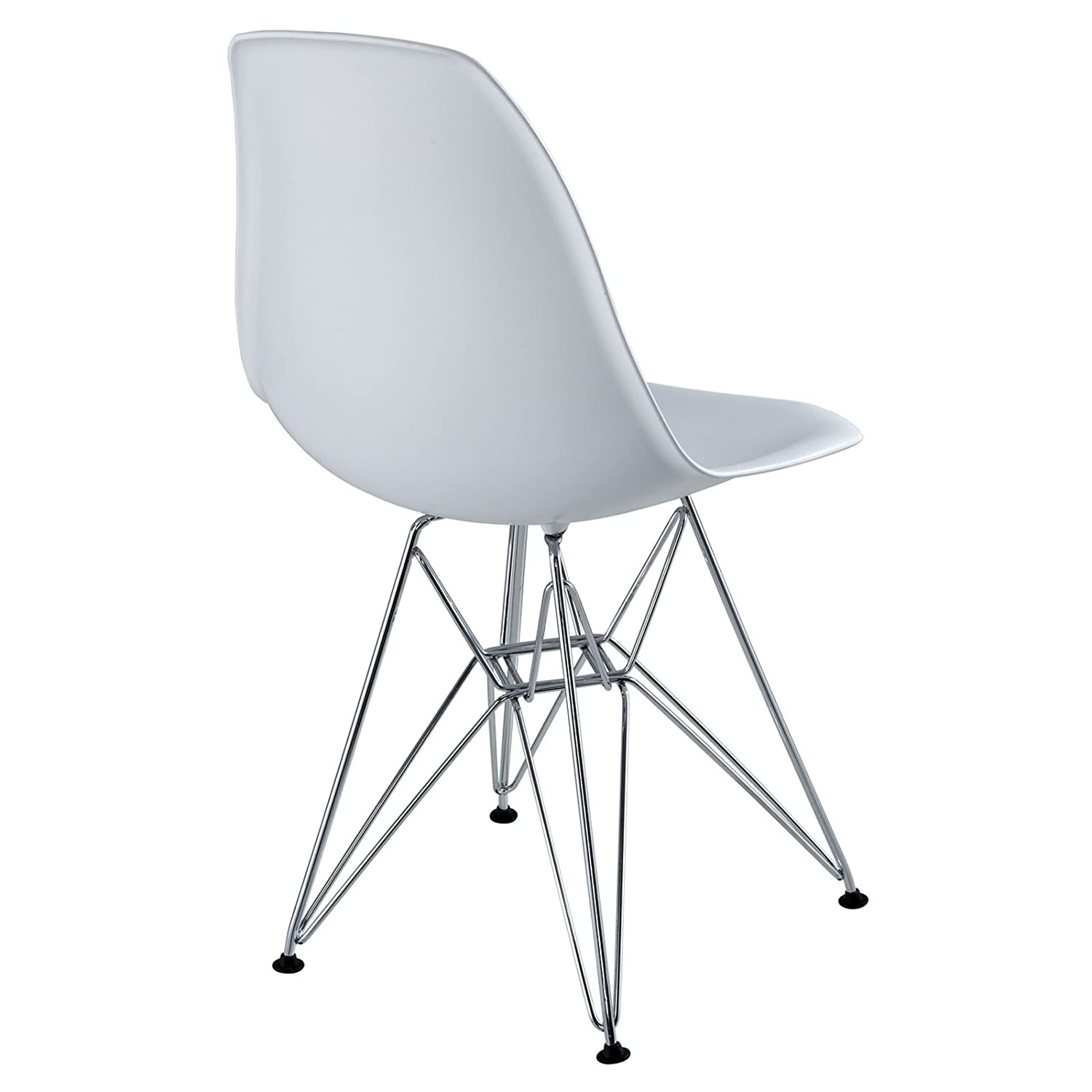 Amazon Modway Plastic Side Chair in White with Wire Base
