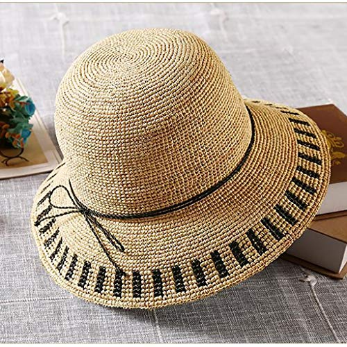 Parasol Hanging - Fashion Capital Hanging Parasol Hand Knitted Rafi Grass Holiday Beach Sun hat (Color : A, Size : M)