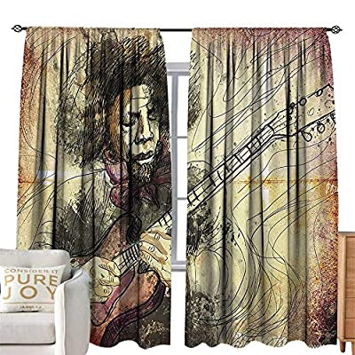 Petpany Rod Pocket Curtains Jazz Music,Guitar Virtuoso Hand Drawn Style Illustration of a Guitar Player Musician,Brown Beige Black,for Room Darkening Panels for Living Room, Bedroom 72