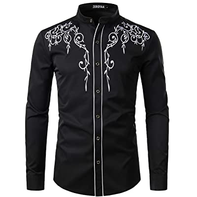ZEROYAA Men's Floral Embroidery Slim Fit Long Sleeve Band Collar Dress Shirts at Amazon Men's Clothing store