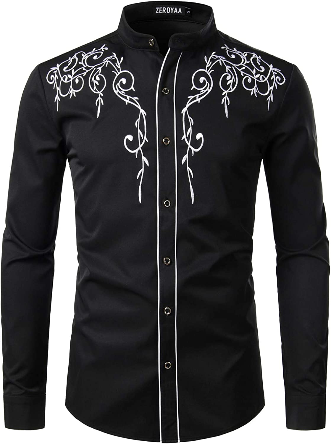 ZEROYAA Men's Floral Embroidery Slim Fit Long Sleeve Band Collar Dress Shirts