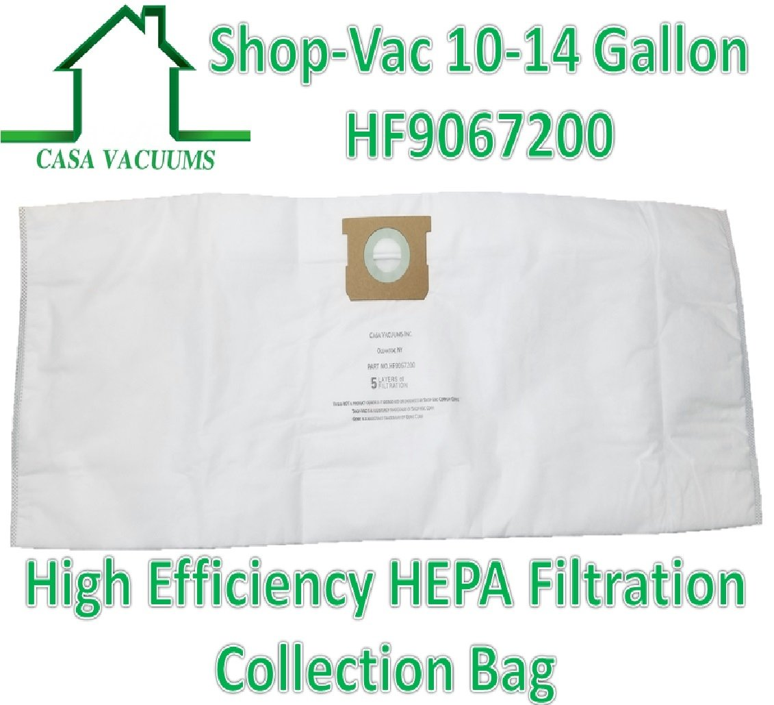 Also fits CRAFTSMAN 3877 CASA VACUUMS replacement for Shop-Vac 9067200 10-14 Gallon Type I Type F compatible High Efficiency Disposable HEPA FILTRATION Collection Bag 3-Pack.