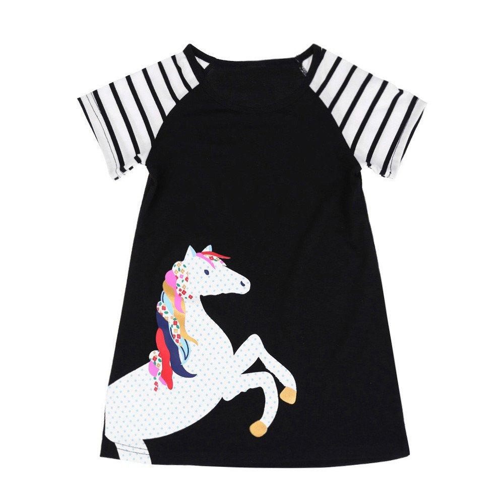 Lovely Baby Girl Infant Kid Horse Animal Cartoon Print Stripe Casual Dress Skirt
