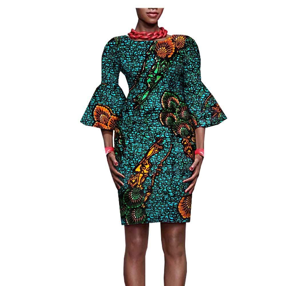 African Ankara Print Women Mini Dresses Wide Flare Sleeve Above Knee 100% Batik Cotton Made AA722530 Huai Bei Qian Yun y-8