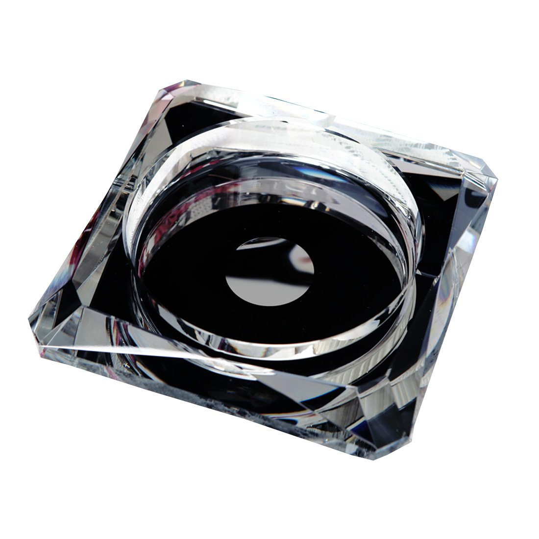 OSONA 高級 卓上灰皿 クリスタル ガラス 灰皿 アッシュトレイ おしゃれ灰皿 ブラック 15cm B01HPXUCH0 15cm|ブラック ブラック 15cm