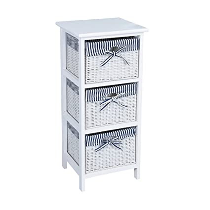Home Using 3 Tier Drawer Wooden Storage Cabinet With Wicker Baskets