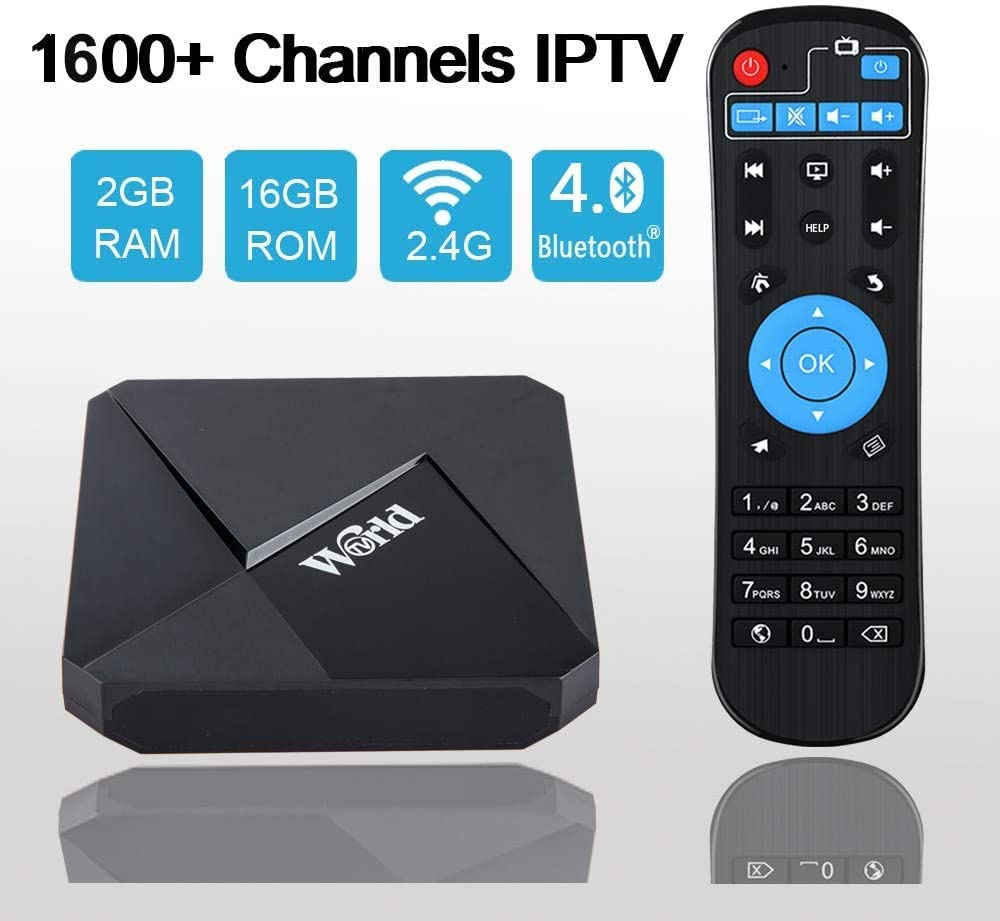 World IPTV Box 4K Android TV Receiver,No Subscription Fee 1600+ International Live Channels from Arab America Europe Asia, Sport Movie News Adult Channels