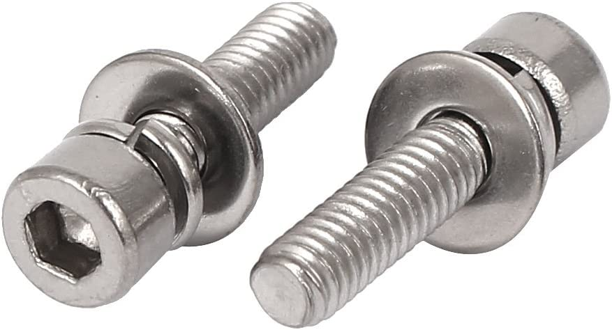 uxcell M4 x 16mm Thread 304 Stainless Steel Hex Socket Head Cap Screw w Washer 20 Pcs