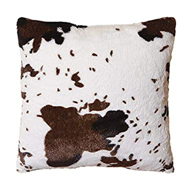 North End Decor Faux Fur Cowhide Plush Throw 18 x18  with Insert Pillow, White