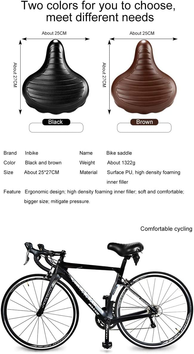 Soft Wide Bicycle Saddle Comfortable Bike Seat Vintage Bicycle Leather Saddle Pad Waterproof Cycling Parts Accessories Color : Brown