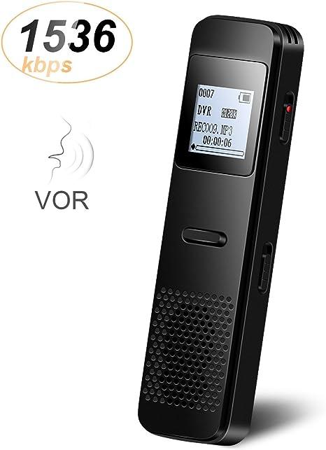 Covvy Grabadora de Voz Dict/áfono LCD USB Grabadora de Voz Digital Profesional Port/átil Reproductor MP3 de Larga Duraci/ón Bater/ía Recargable-8GB Plateado