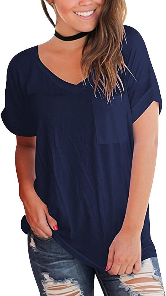 Camisetas Oversize Mujer Camiseta Escote V Chica Camisas Manga Corta Mujer Blusas Verano Playeras Asimetricas Anchas Señora Top Basica Blusa Tops Camisa Remeras Blusones Elegantes Bonitas Armada S: Amazon.es: Ropa y accesorios