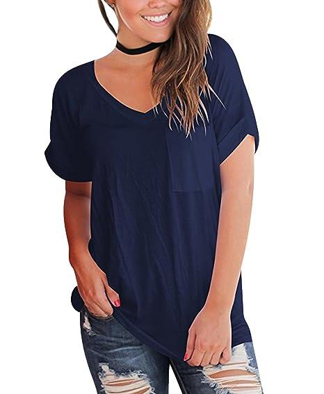 Camisetas Oversize Mujer Camiseta Escote V Chica Camisas Manga Corta Mujer Blusas Verano Playeras Asimetricas Anchas Señora Top Basica Blusa Tops Camisa ...