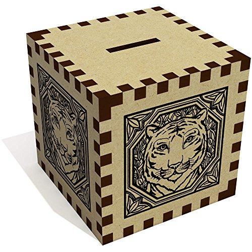 Azeeda 'Square Tiger Motif' Money Box / Piggy Bank (MB00005424)