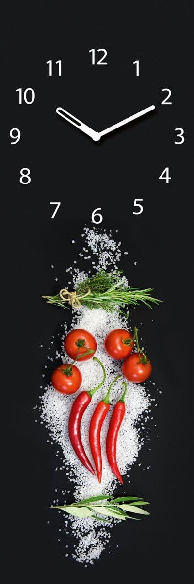 Peperoni Salz schwarz Cucina Italiana Pomodori 20x60 cm von Eurographics Wanduhr aus Glas f/ür die K/üche Tomaten Kr/äuter