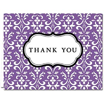 Amazon Com Damask Purple 36 Thank You Cards Blank Cards Gray