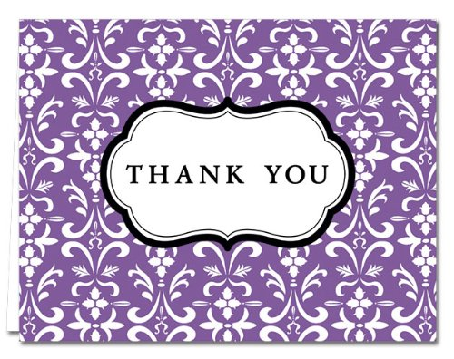 (Damask - Purple- 36 Thank You Cards - Blank Cards - Gray Envelopes Included)