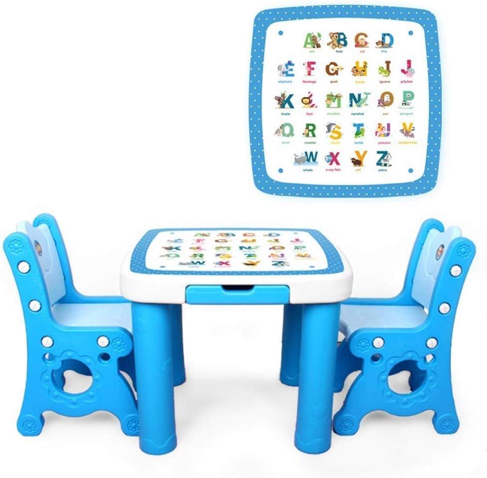 TONGSH Juego de Mesa para niños de 1 a 5 años, Juego de Mesa de Actividades, Mesa de Estudio y Silla para niños, Juego de niños/Silla de Mesa de Dibujo: Amazon.es: Juguetes