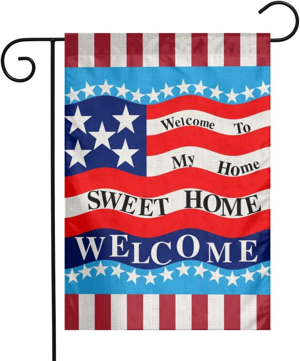 YANGHOME Welcome to My Sweet Home WAVA 13 Star American Flag Flax Nylon Burlap Linen Fabric Garden Flag Farmhouse Decorations Mailbox Decor Welcome Sign 12x18 Inch Small Mini Size Double Sided