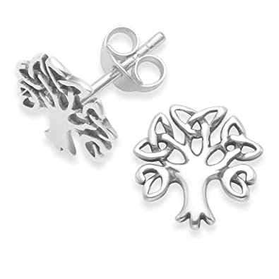 Heather Needham Sterling Silver Tree of Life Earrings - Yggdrasil stud earrings - Size: 14mm - Gift Boxed 5297 w7lmx