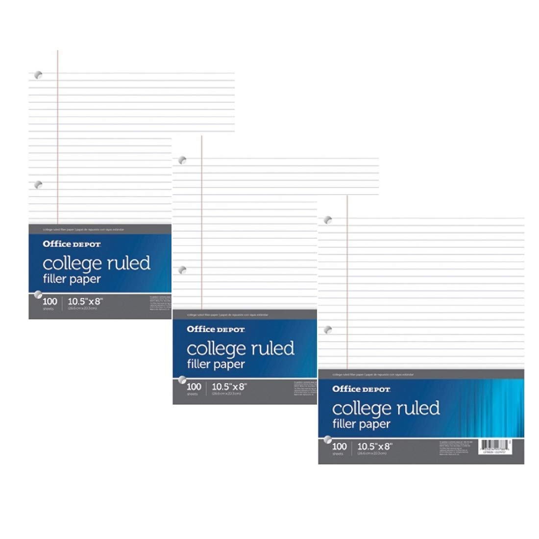 Office Depot College Ruled Filler Paper Pack of 3 300 Sheets 10.5 inch x 8 inch