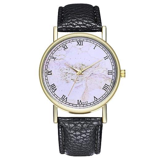Relojes de Moda para Mujer, de Cuero, Acero Inoxidable, Cuarzo, Reloj de Pulsera analógico, Bonito Regalo.: Amazon.es: Relojes