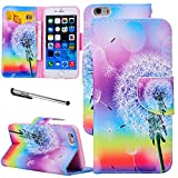 Urvoix For iPhone 6 (4.7''), Rainbow Dandelion Wallet Leather Case Cover [Picture w/ Card Holder] [Magnetic Stand] for 4.7-inch iPhone 6 (NOT fit 6plus)