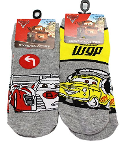 Disney Pixar's Cars 2 World Grand Prix Gray Kids Socks (Size 6-8, 2 Pairs)