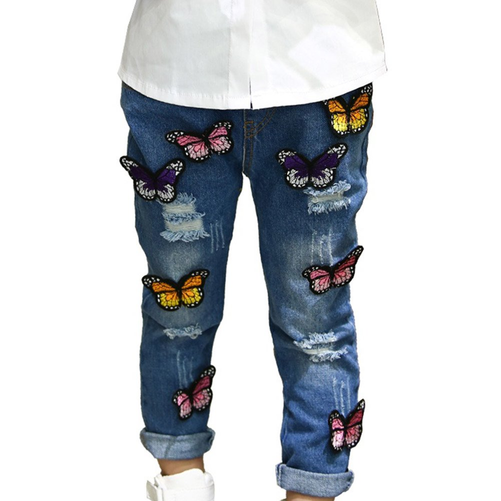 Brightup 2018 Trousers, Baby Kids Girls Jeans Butterfly Applique Denim Pants For 2-7 Years Old