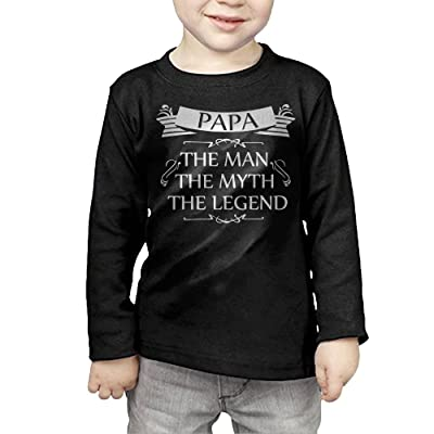 ZheuO Boys & Girls Toddler Papa The Man The Myth The Legend Soft and Cozy 100% Cotton Tee Unisex Black