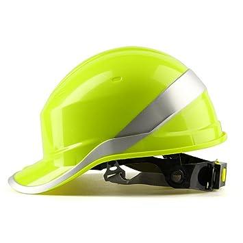 MASUNN Diamond V Duro Sombreros Seguridad Trabajo 8 Punto Ventilado Construcción Trinquete Cascos Nuevo-Amarillo: Amazon.es: Hogar