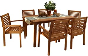 Amazonia Milano 7-Piece Patio Rectangular Dining Table Set   Eucalyptus Wood   Ideal for Outdoors and Indoors, 59Lx36Wx35H
