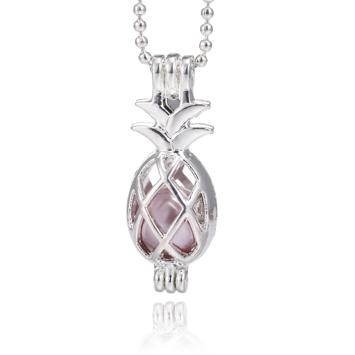 Crystal Queen Silver Pearl Cage Necklace Beads Cage Locket Pendant Necklace Jewelry Essential Oil Diffuser