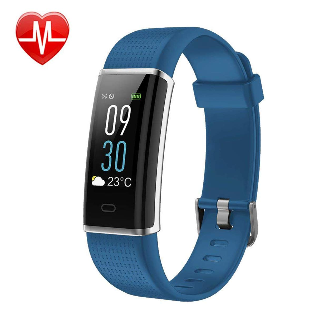 KARSEEN Fitness Tracker, Activity Tracker Fitness Watch Heart Rate Monitor Colorful OLED Screen Smart Watch Sleep Monitor, Step Counter, IP68 Waterproof Pedometer Android&iOS Phone (Blue)
