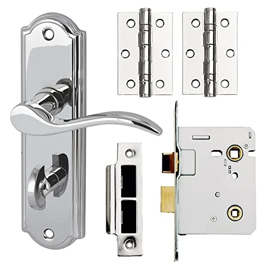 SYWELL Internal Lever on Plate Door Handle Pack Bathroom Polished ...