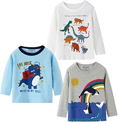HZXVic Baby Boys 3-Pack Long Sleeve Tees Tops Cotton Toddler Kids Tshirt