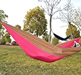 Kansoon Double Parachute Camping Hammock, Ultralight Portable Nylon Fabric Travel Hiking Camping Hammock, Ropes and Alloy Carabiners Included, Pink/Yellow