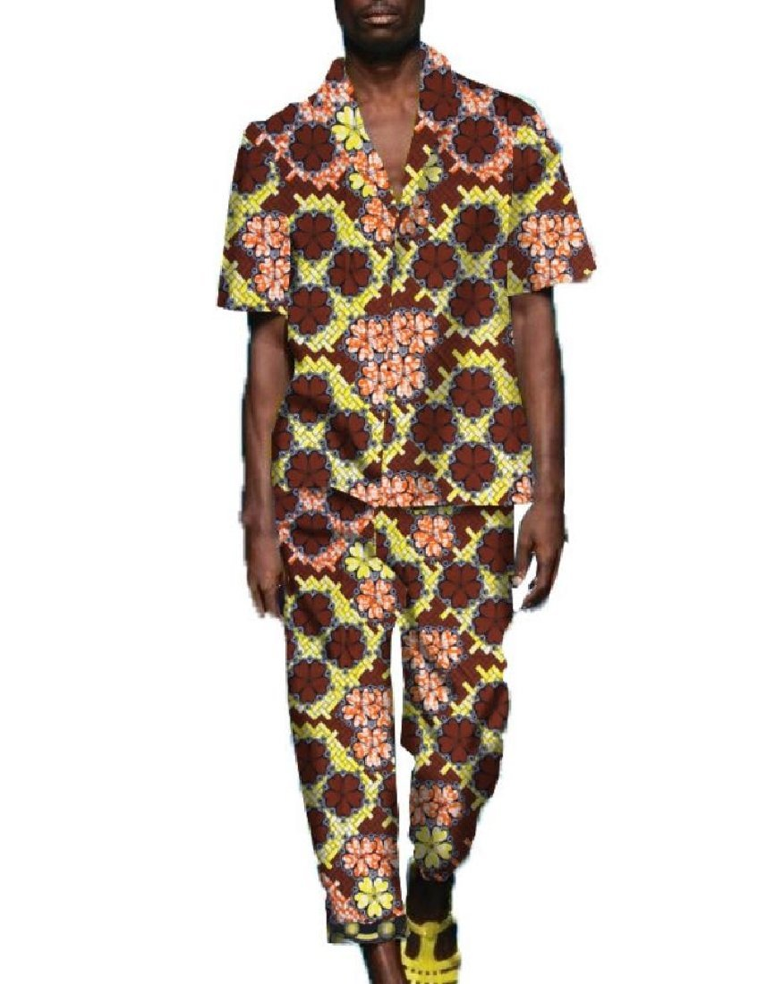 Doufine Men's Suit Printing Dashiki Africa Oversized Pants Business Suit 3 L by Doufine--men clothes (Image #1)