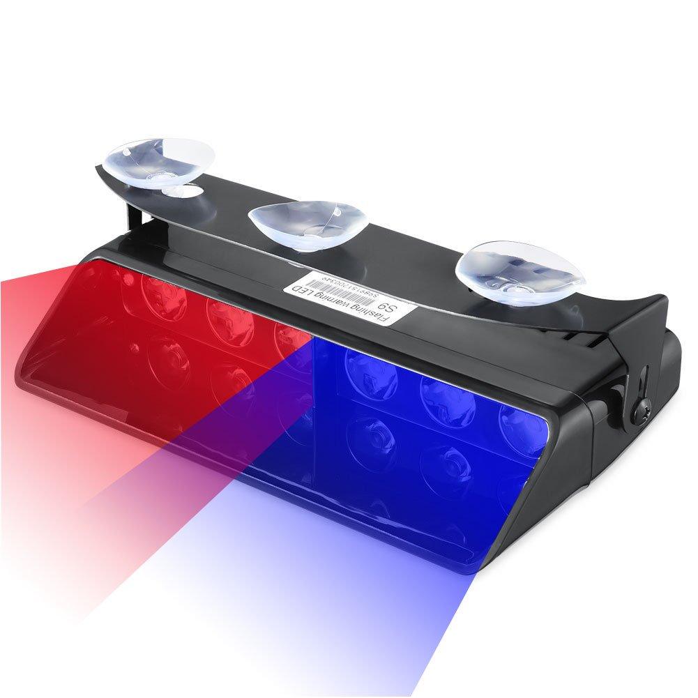 Emergency Dash Lights, 6W Red Blue LED Warning Strobe Lighting 16 Flashing Patterns for Police Car