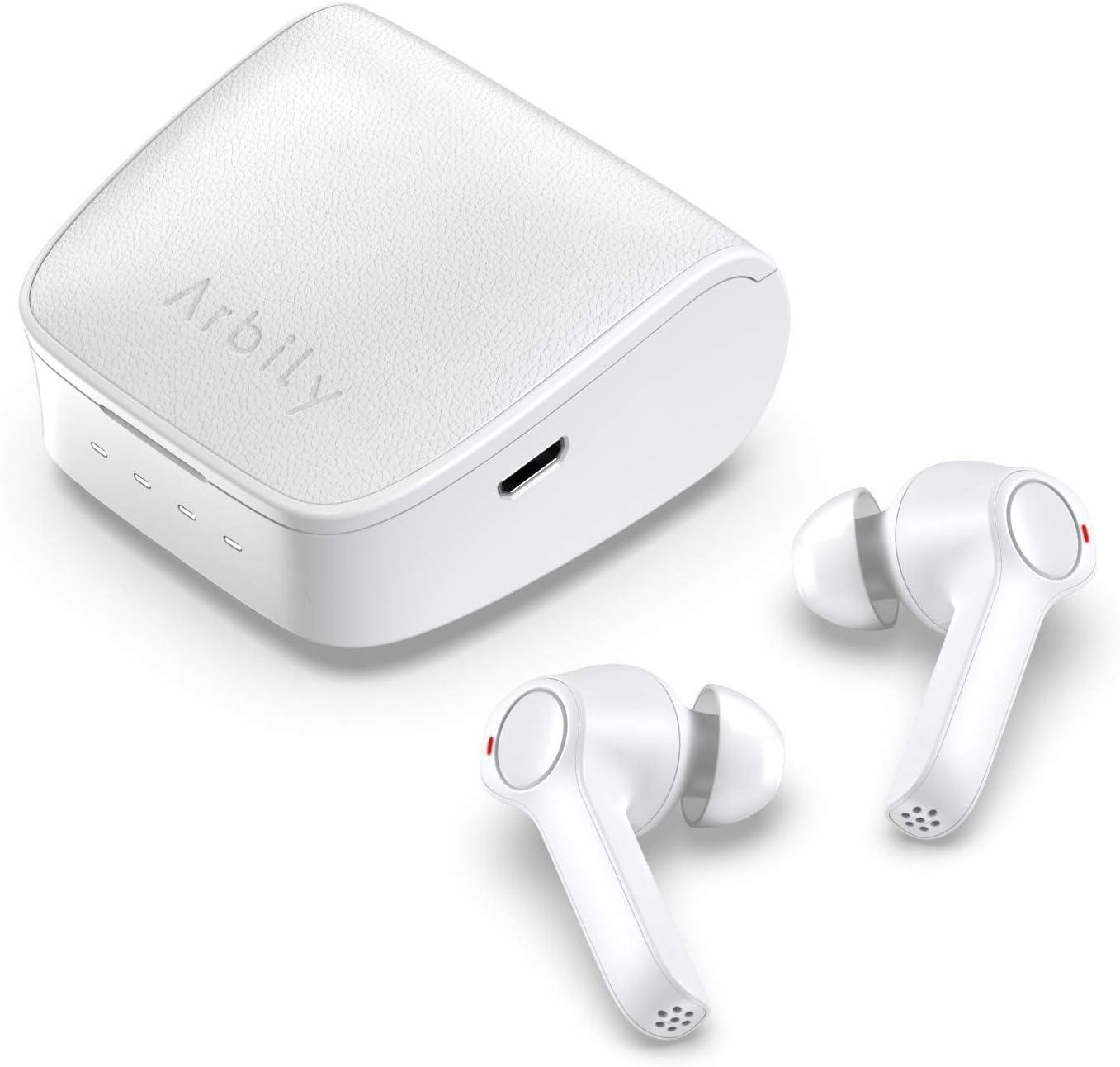 Arbily Auriculares Inalámbricos, Auriculares Estéreo Bluetooth 5.0 en la Oreja con Caja de Carga de Cuero Auriculares Bluetooth para Negocios, Trabajo, Deporte (Mic, Fácil de Emparejar, Impermeable)