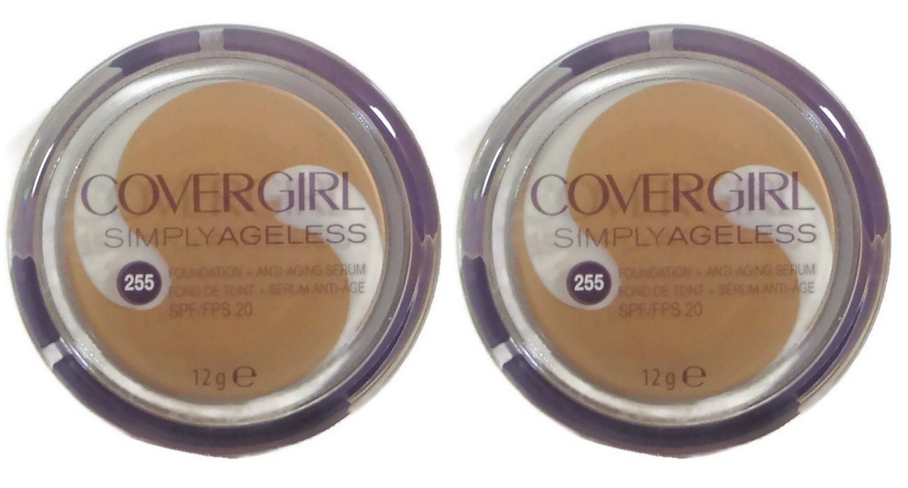 (TWO PACK) Covergirl Simply Ageless Foundation Makeup + Anti-aging Serum, 255 Soft Honey, 12g