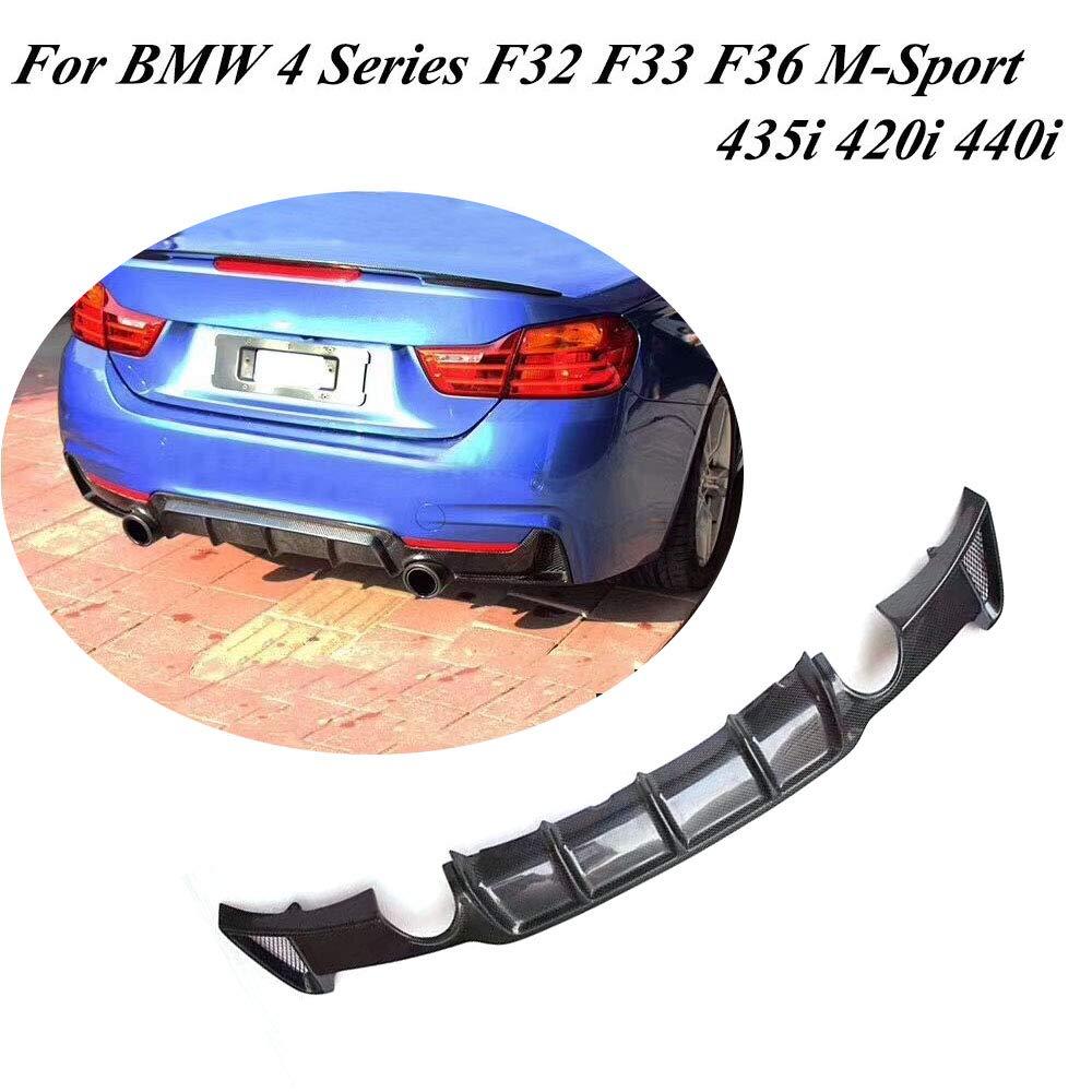 Jcsportline Carbon Fiber Rear Diffuser fits BMW 4 Series F32 F33 F36 435i 420i 440i M-Sport 2-Door 4-Door 2014-2017 (Quad Exhaust Twin Outlet) JC-XP825