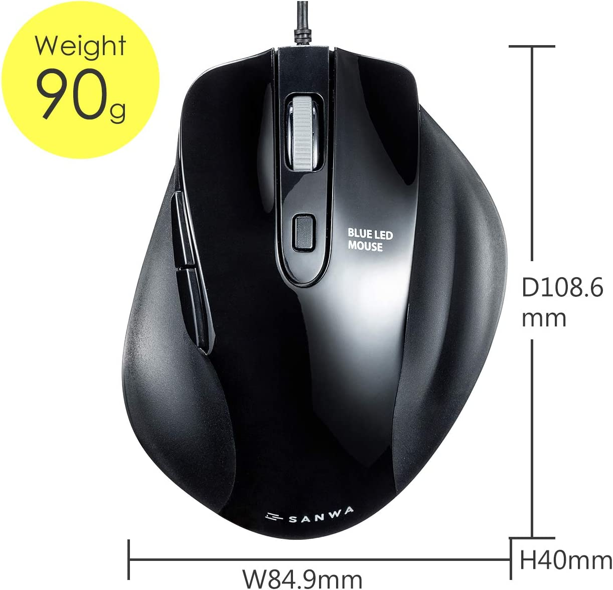 Wired Vertical Ergonomic Mouse Silent Blue LED Optical Computer Mice, SANWA Laptop Compatible with MacBook 1000//1600//2400//3200 DPI, 6 Buttons Windows Android Mac OS Japan Brand