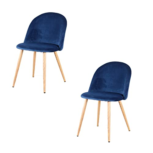 Set of 2 Dining Chairs Mid Century Modern Accent Velvet Leisure Chairs Upholstered Side Chairs for Home, Living Room Kitchen Vanity Patio Blue