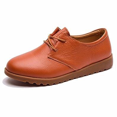 Moonwalker Zapatos Oxfords de Cuero Genuino con Cordones Para Mujer(EUR 38,Negro)